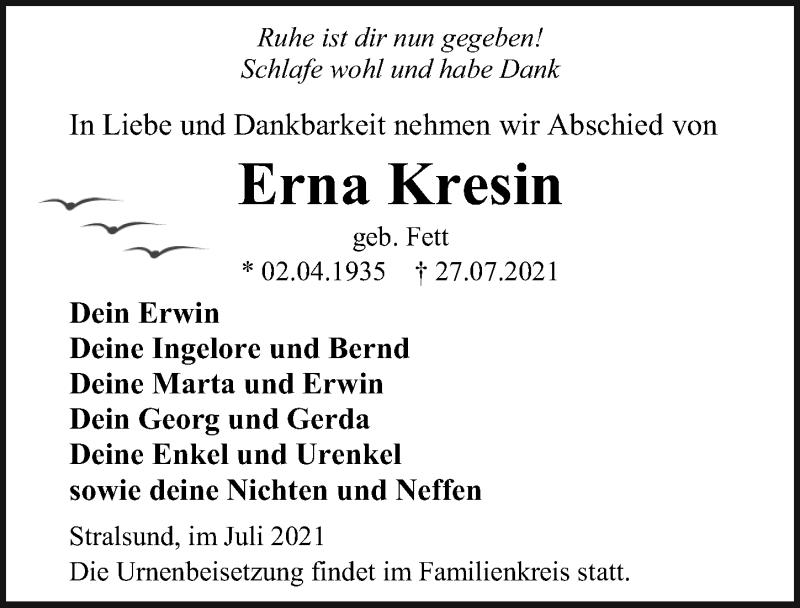 Traueranzeige für Erna Kresin vom 31.07.2021 aus Ostsee-Zeitung GmbH