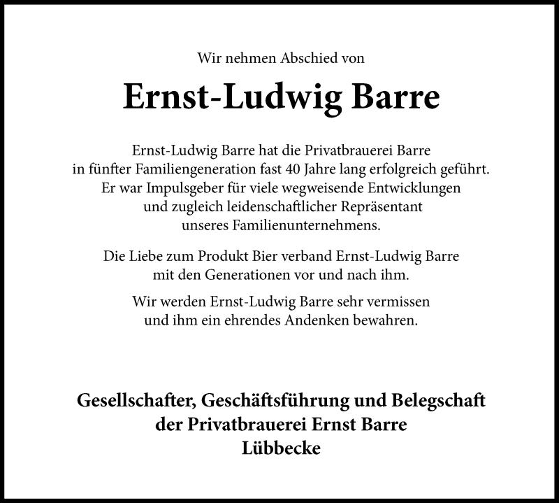 Traueranzeige von  Ernst-Ludwig Barre
