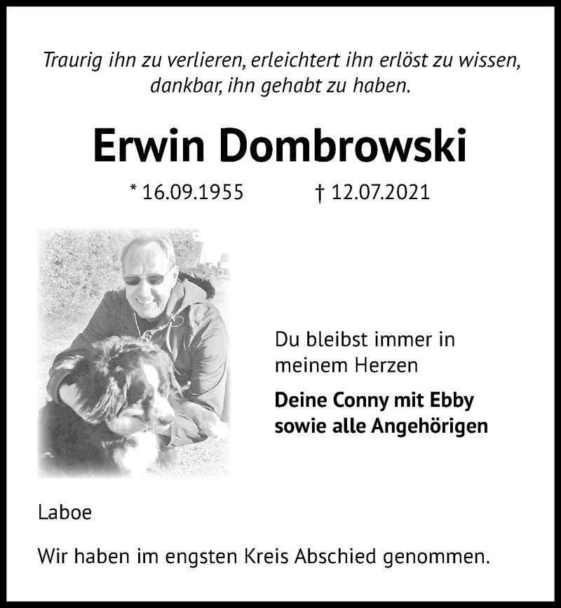 Traueranzeige für Erwin Dombrowski vom 17.07.2021 aus Kieler Nachrichten