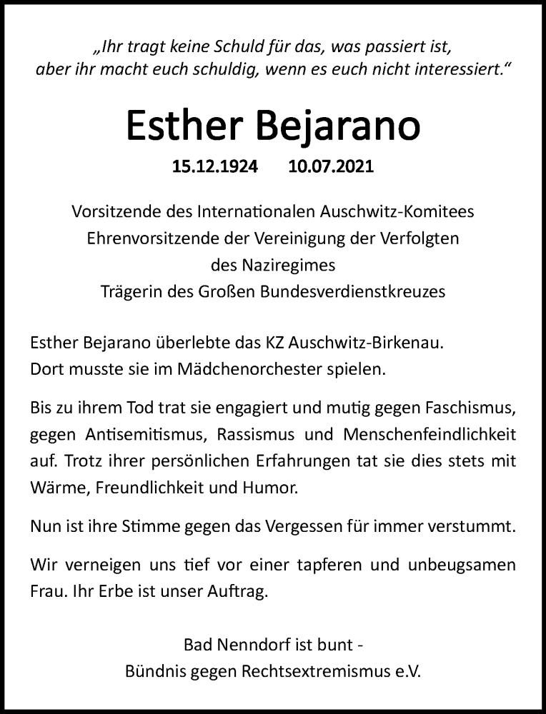 Traueranzeige für Esther Bejarano vom 17.07.2021 aus Schaumburger Nachrichten