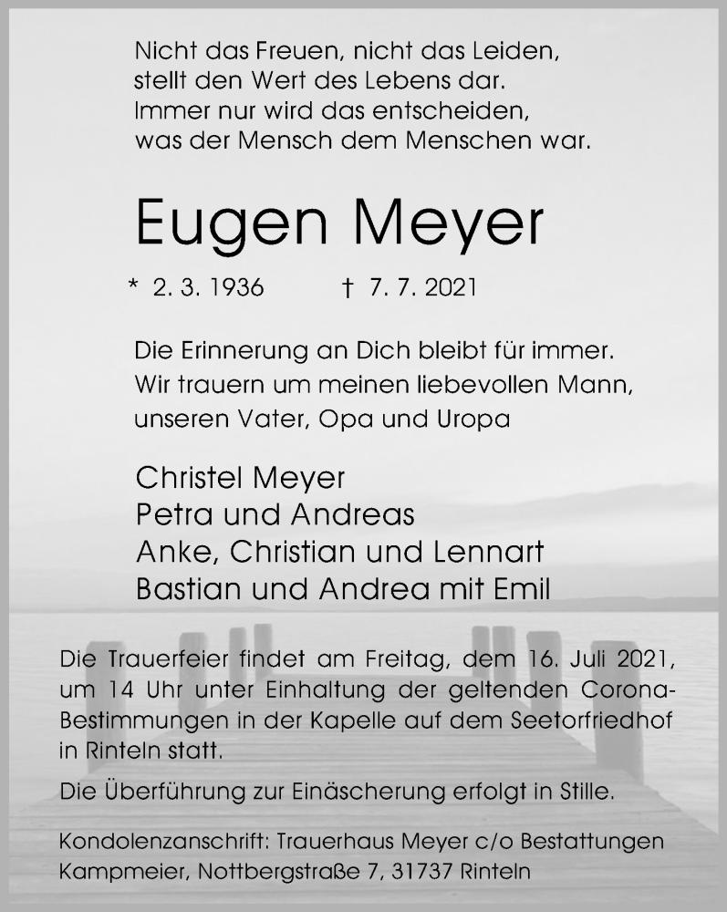 Traueranzeige für Eugen Meyer vom 10.07.2021 aus Schaumburger Nachrichten