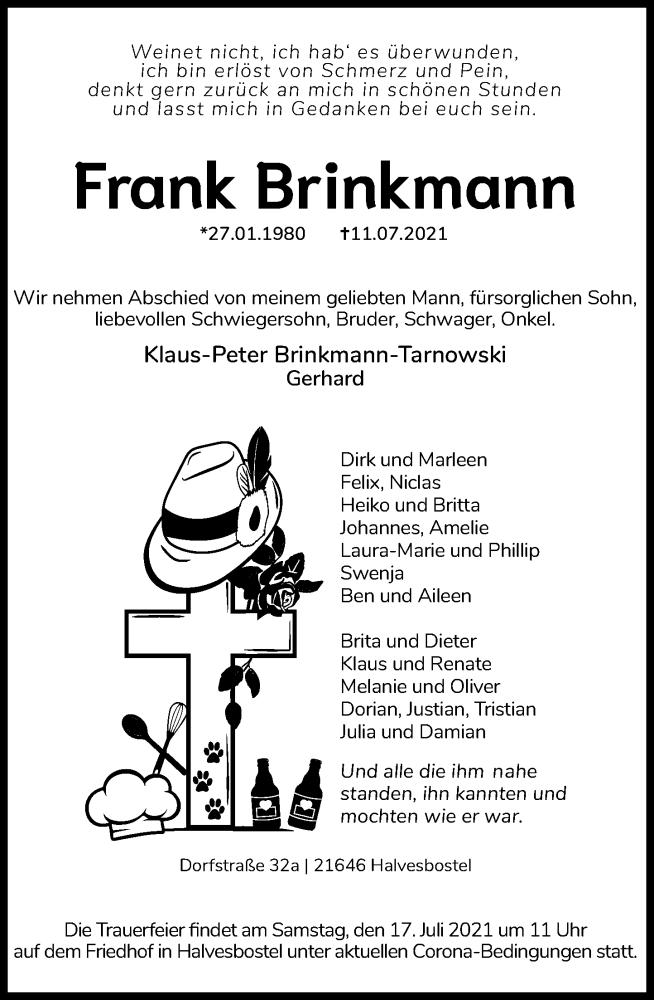 Traueranzeige für Frank Brinkmann vom 17.07.2021 aus Schaumburger Nachrichten