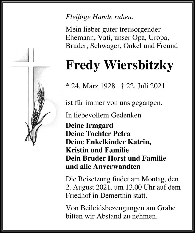 Traueranzeige für Fredy Wiersbitzky vom 29.07.2021 aus Märkischen Allgemeine Zeitung