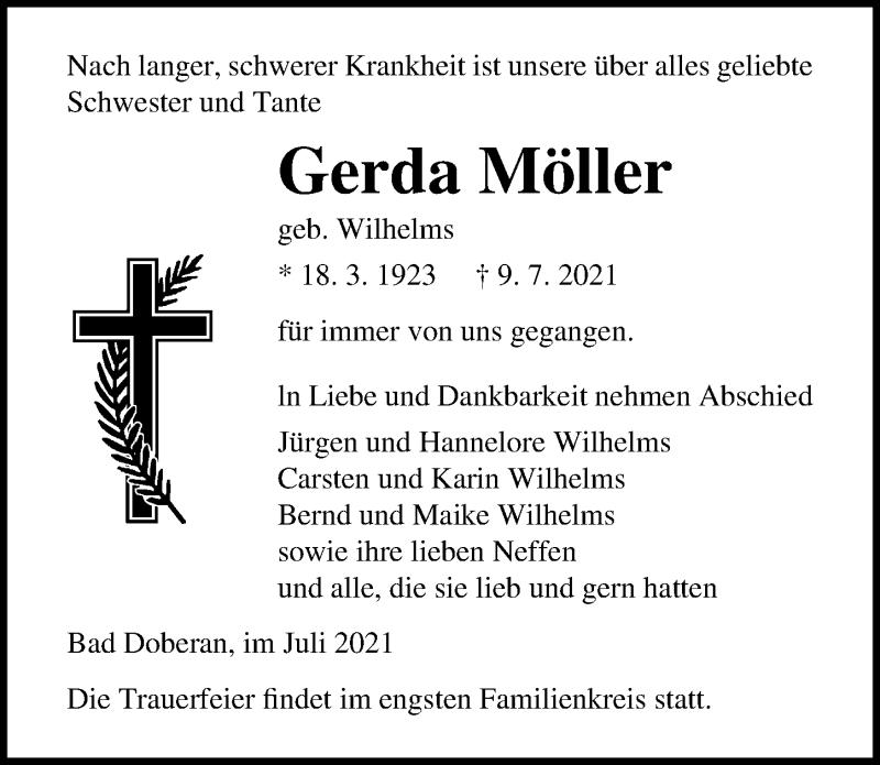 Traueranzeige für Gerda Möller vom 17.07.2021 aus Ostsee-Zeitung GmbH