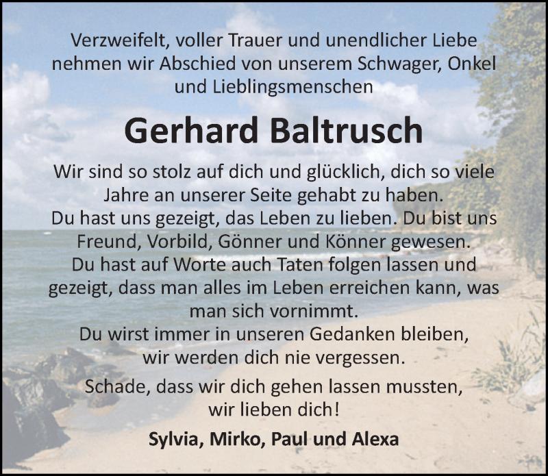Traueranzeige für Gerhard Baltrusch vom 17.07.2021 aus Ostsee-Zeitung GmbH