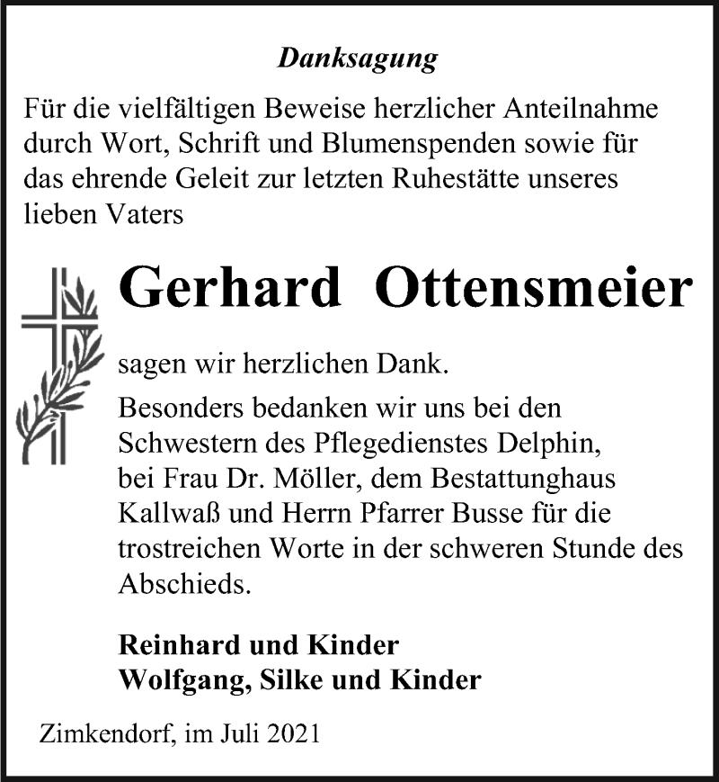 Traueranzeige für Gerhard Ottensmeier vom 17.07.2021 aus Ostsee-Zeitung GmbH