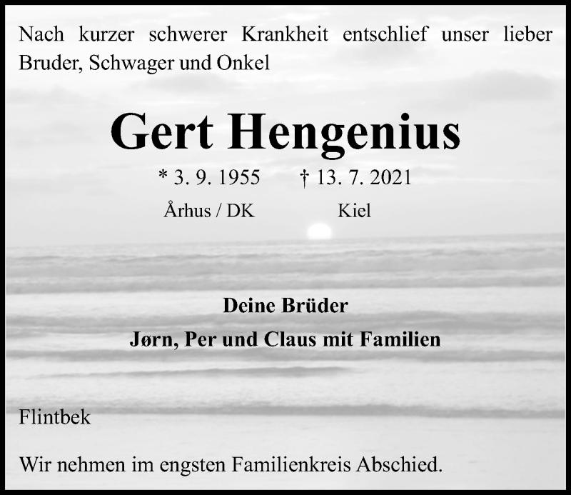 Traueranzeige für Gert Hengenius vom 17.07.2021 aus Kieler Nachrichten