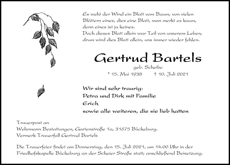 Traueranzeige für Gertrud Bartels vom 13.07.2021 aus Schaumburger Nachrichten