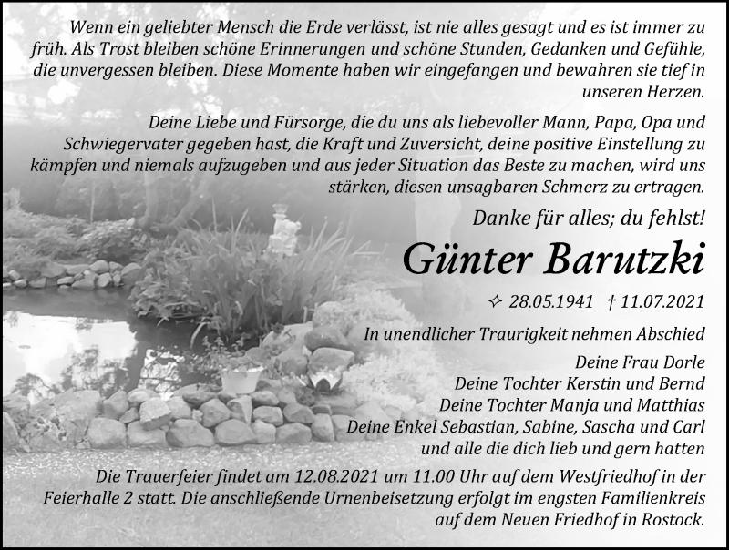 Traueranzeige für Günter Barutzki vom 17.07.2021 aus Ostsee-Zeitung GmbH