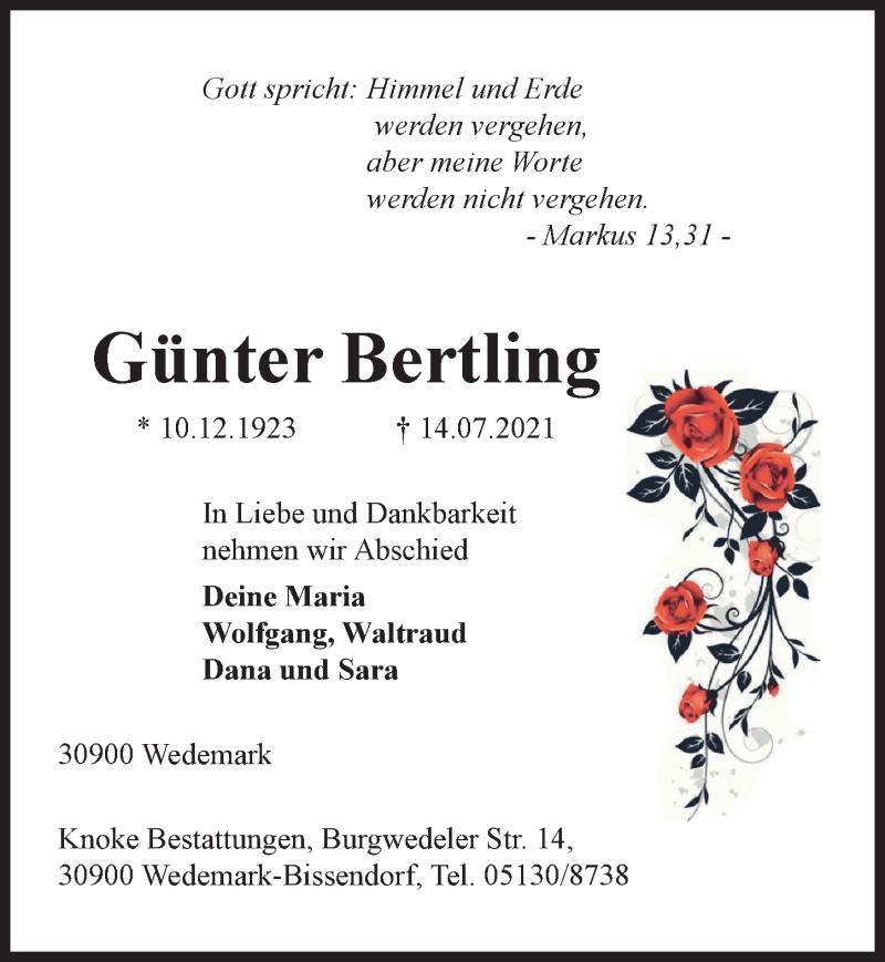 Traueranzeige für Günter Bertling vom 17.07.2021 aus Hannoversche Allgemeine Zeitung/Neue Presse