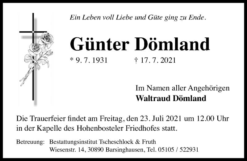 Traueranzeige für Günter Dömland vom 22.07.2021 aus Hannoversche Allgemeine Zeitung/Neue Presse
