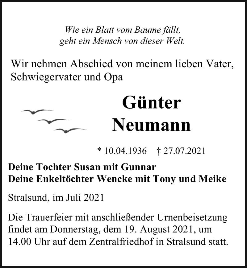 Traueranzeige für Günter Neumann vom 31.07.2021 aus Ostsee-Zeitung GmbH