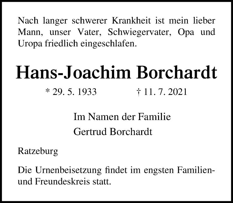 Traueranzeige für Hans-Joachim Borchardt vom 17.07.2021 aus Lübecker Nachrichten