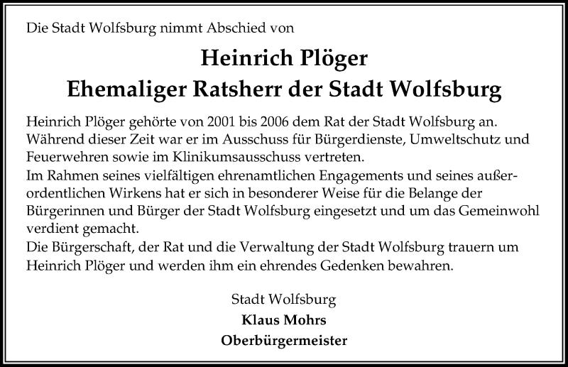 Traueranzeige von  Heinrich Plöger