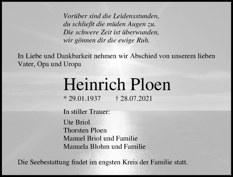 Traueranzeige für Heinrich Ploen vom 31.07.2021 aus Ostsee-Zeitung GmbH