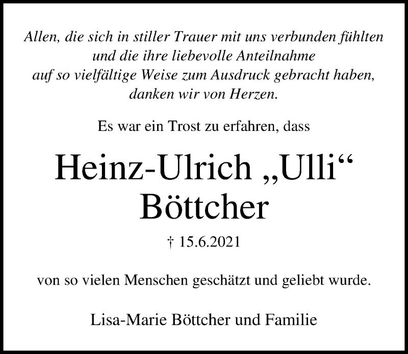 Traueranzeige für Heinz-Ulrich Böttcher vom 11.07.2021 aus Lübecker Nachrichten