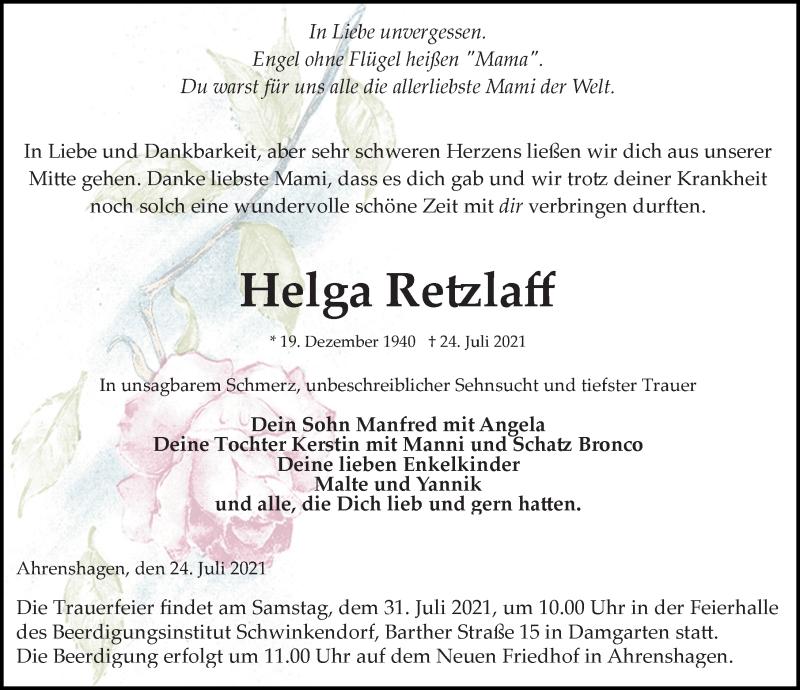 Traueranzeige für Helga Retzlaff vom 31.07.2021 aus Ostsee-Zeitung GmbH