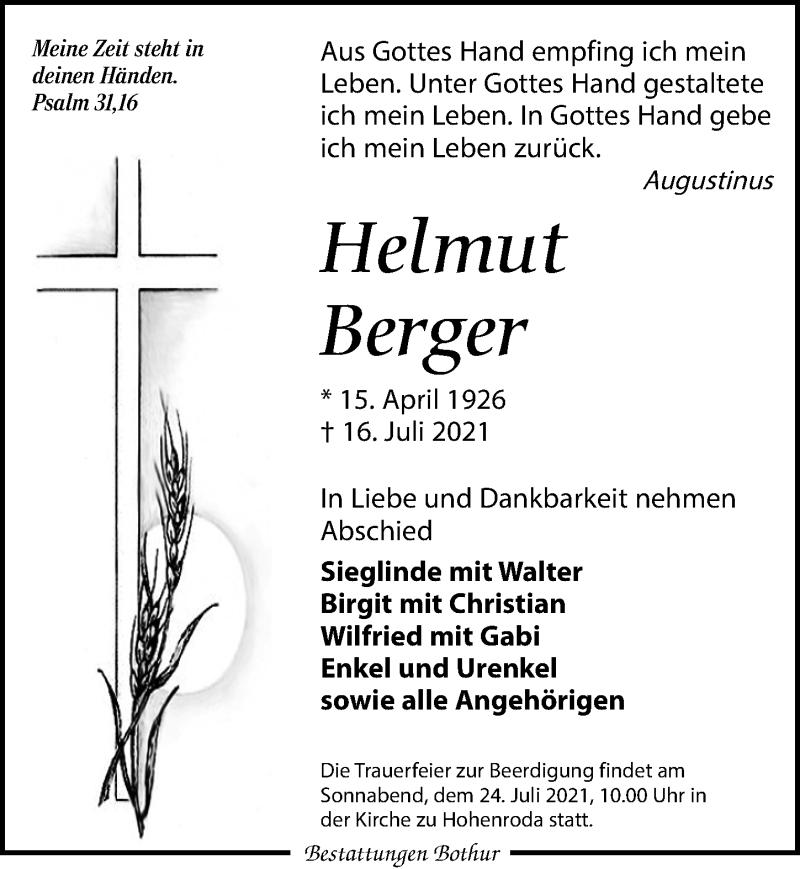Traueranzeige für Helmut Berger vom 21.07.2021 aus Leipziger Volkszeitung