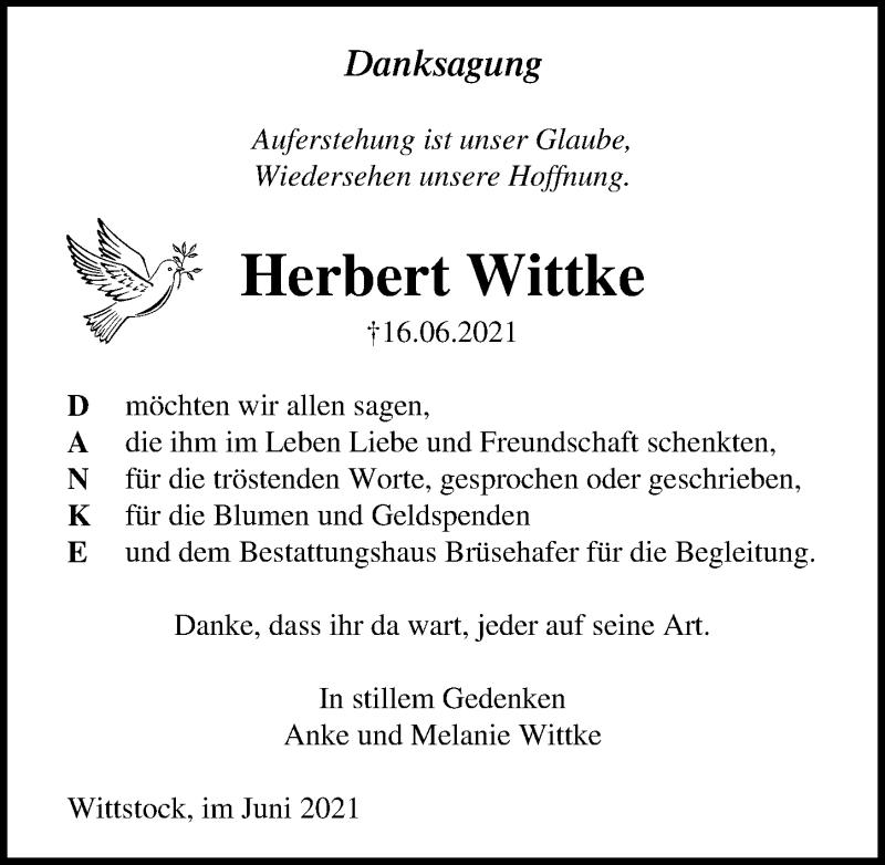 Traueranzeige für Herbert Wittke vom 03.07.2021 aus Märkischen Allgemeine Zeitung