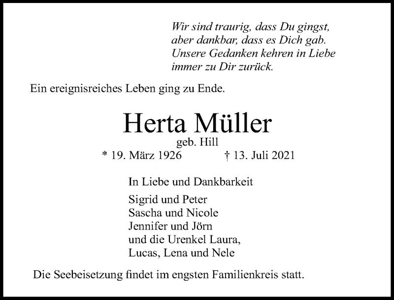 Traueranzeige für Herta Müller vom 18.07.2021 aus Lübecker Nachrichten