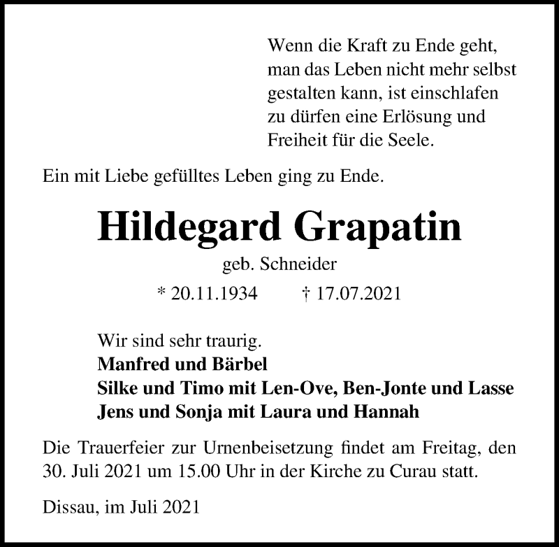 Traueranzeige von  Hildegard Grapatin