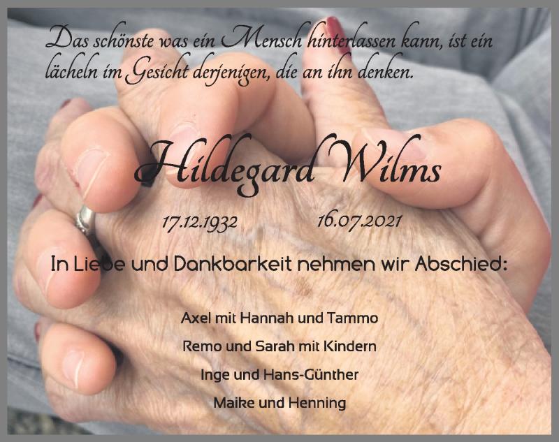 Traueranzeige für Hildegard Wilms vom 21.07.2021 aus Kieler Nachrichten