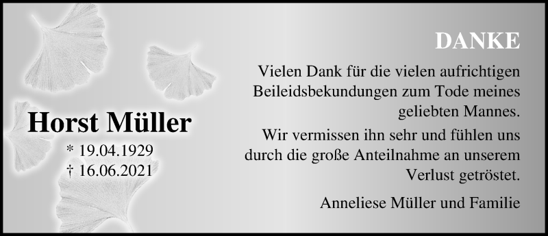 Traueranzeige für Horst Müller vom 17.07.2021 aus Märkischen Allgemeine Zeitung