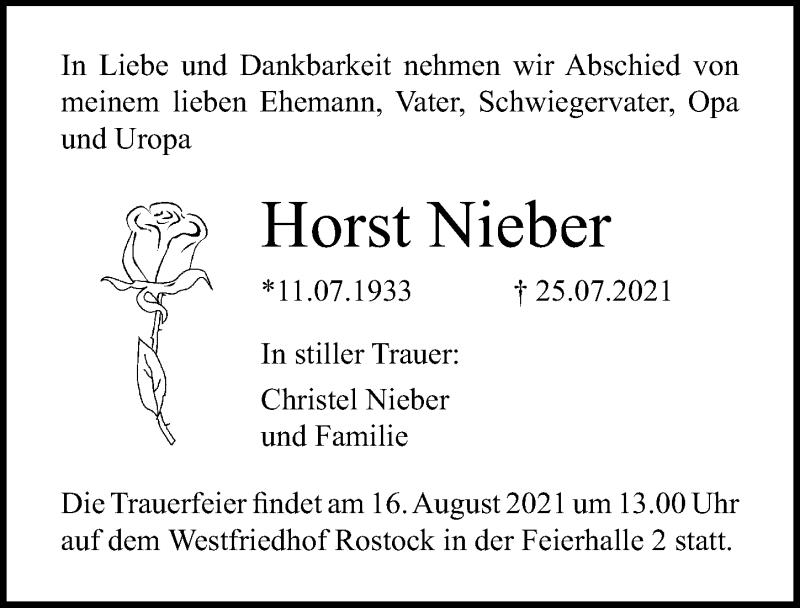 Traueranzeige für Horst Nieber vom 31.07.2021 aus Ostsee-Zeitung GmbH