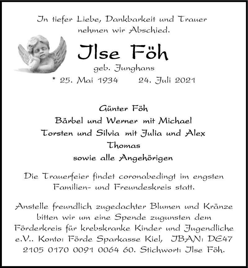Traueranzeige für Ilse Föh vom 28.07.2021 aus Kieler Nachrichten