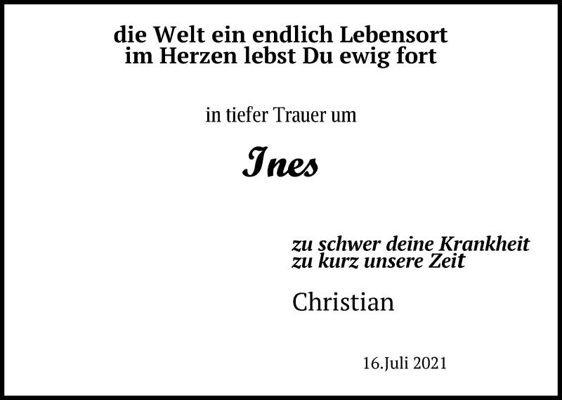 Traueranzeige für Ines  vom 20.07.2021 aus Leipziger Volkszeitung