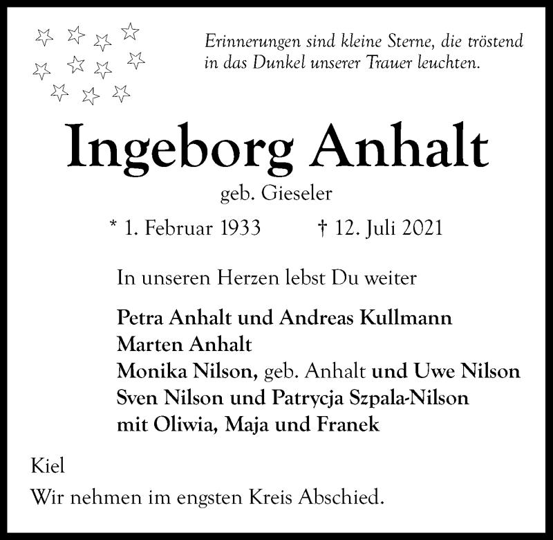 Traueranzeige für Ingeborg Anhalt vom 17.07.2021 aus Kieler Nachrichten