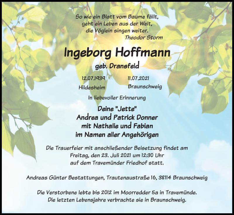 Traueranzeige für Ingeborg Hoffmann vom 18.07.2021 aus Lübecker Nachrichten