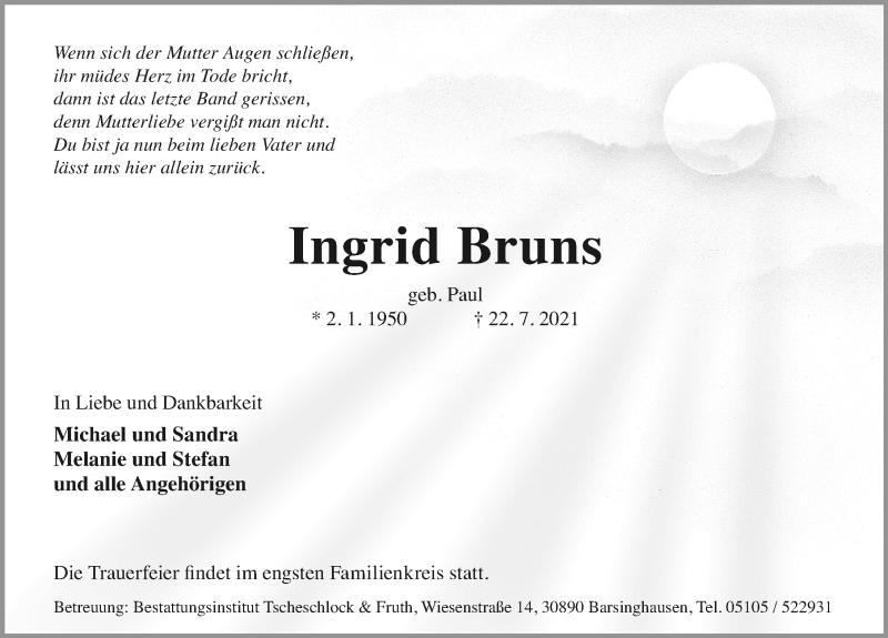 Traueranzeige von  Ingrid Bruns