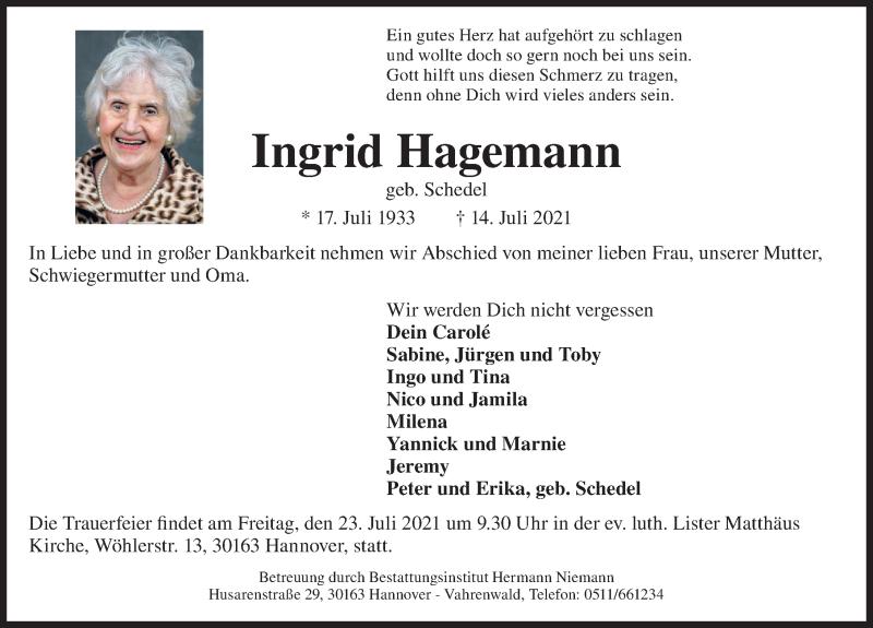 Traueranzeige für Ingrid Hagemann vom 21.07.2021 aus Hannoversche Allgemeine Zeitung/Neue Presse