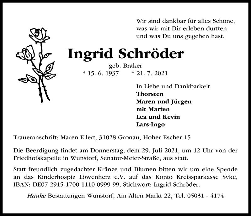 Traueranzeige von  Ingrid Schröder