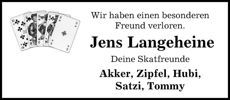 Traueranzeige für Jens Langeheine vom 21.07.2021 aus Peiner Allgemeine Zeitung