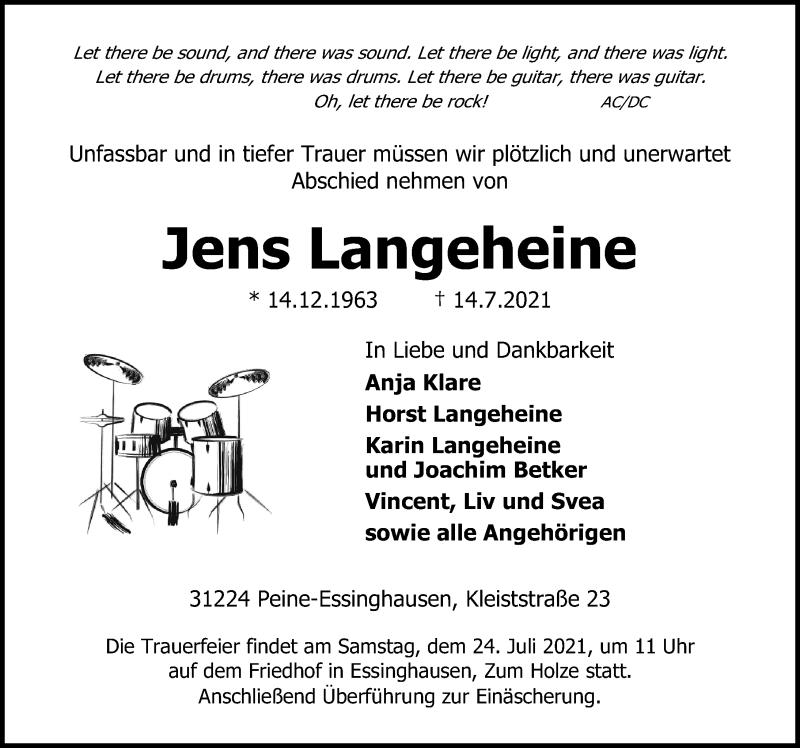 Traueranzeige für Jens Langeheine vom 17.07.2021 aus Peiner Allgemeine Zeitung