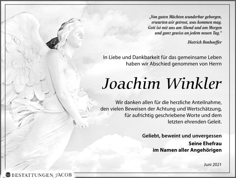Traueranzeige für Joachim Winkler vom 03.07.2021 aus Leipziger Volkszeitung
