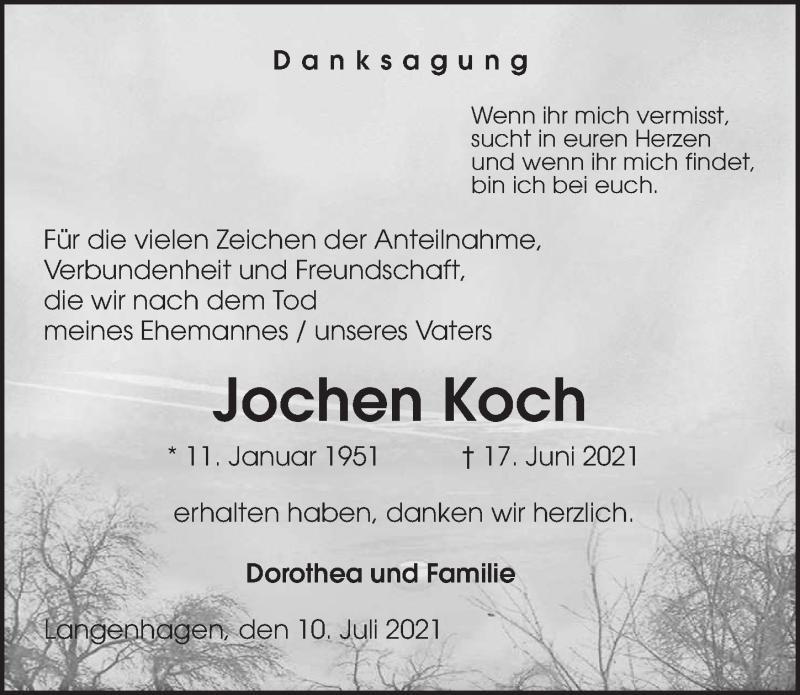 Traueranzeige für Jochen Koch vom 10.07.2021 aus Eichsfelder Tageblatt