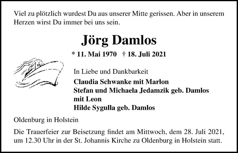 Traueranzeige für Jörg Damlos vom 23.07.2021 aus Lübecker Nachrichten