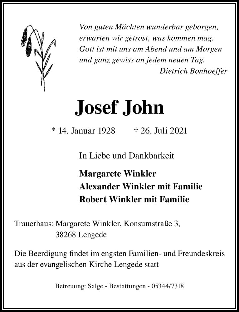Traueranzeige für Josef John vom 29.07.2021 aus Peiner Allgemeine Zeitung