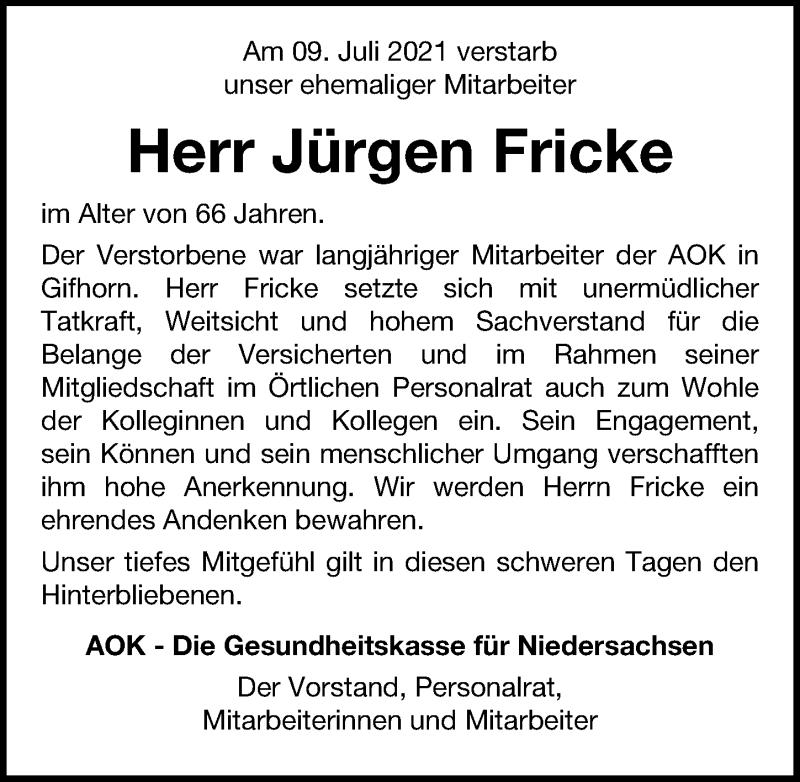 Traueranzeige für Jürgen Fricke vom 16.07.2021 aus Aller Zeitung