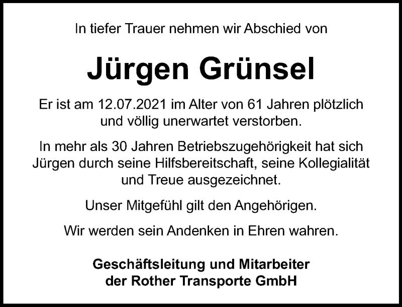 Traueranzeige für Jürgen Grünsel vom 17.07.2021 aus Schaumburger Nachrichten
