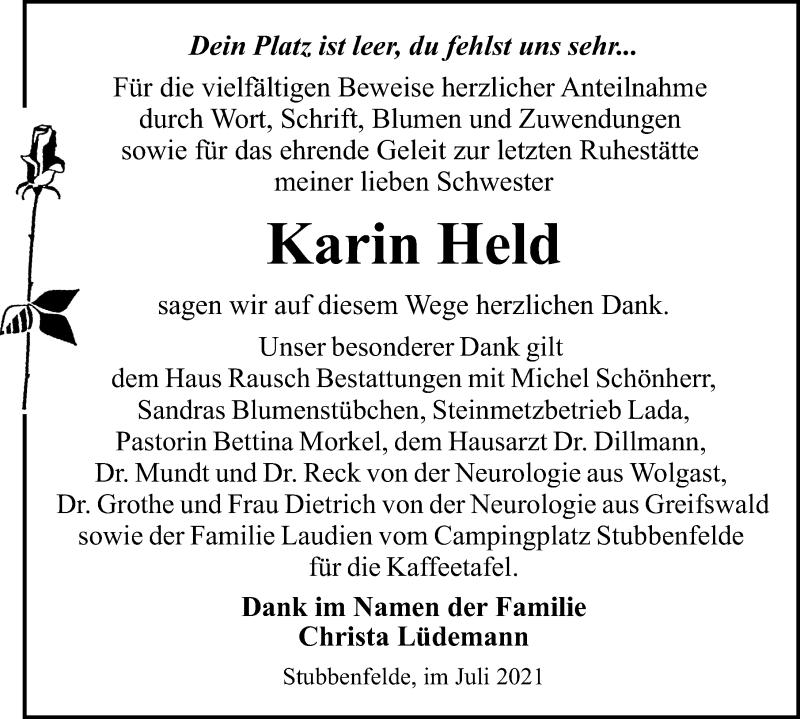Traueranzeige für Karin Held vom 10.07.2021 aus Ostsee-Zeitung GmbH