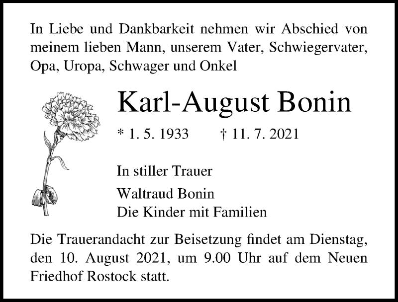 Traueranzeige für Karl-August Bonin vom 17.07.2021 aus Ostsee-Zeitung GmbH