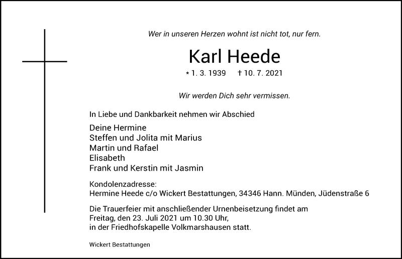 Traueranzeige für Karl Heede vom 21.07.2021 aus Göttinger Tageblatt