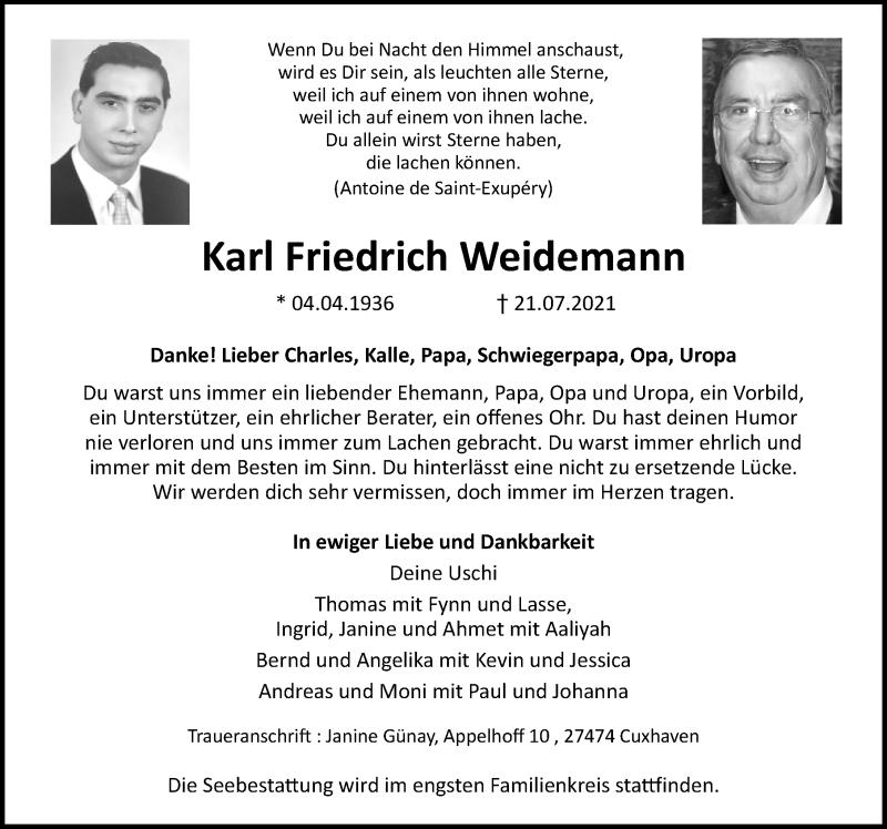Traueranzeige von  Karl Friedrich Weidemann