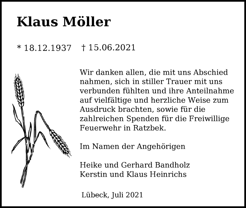 Traueranzeige von  Klaus Möller
