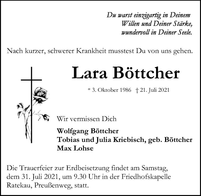 Traueranzeige von  Lara Böttcher