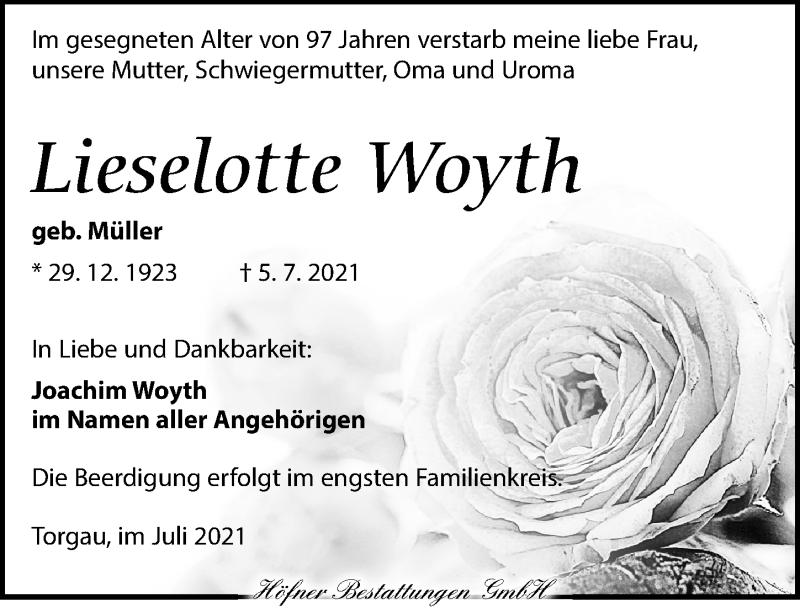Traueranzeige für Lieselotte Woyth vom 10.07.2021 aus Torgauer Zeitung